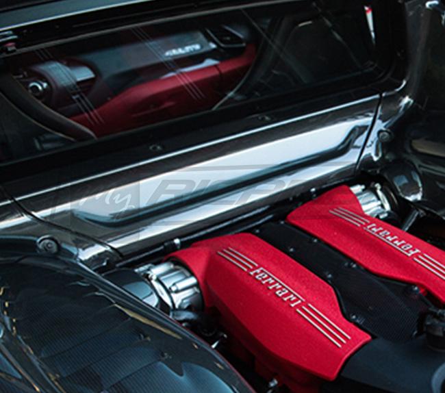 Ferrari F8 Tributo Rear: Ferrari F8 Tributo Carbon Fiber Underscreen Shield
