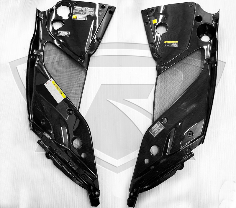 Ferrari 812 Superfast carbon fiber engine bay covers with OEM Stickers