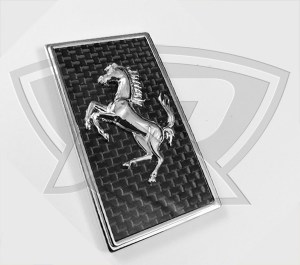Ferrari Carbon Fiber Hood Badge with Cavallino